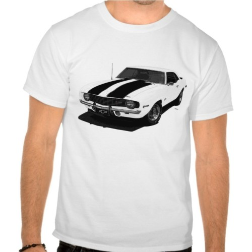 Fantaboy 1969 Chevy Camaro Z28 White N Black Printed T-Shirt